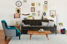 Interior Design Furniture Styles, Sofa Furniture, Velvet Furniture, Schoolhouse Electric, Living Spaces, Living Room, Interiores Design, Ideal Home, Decoration