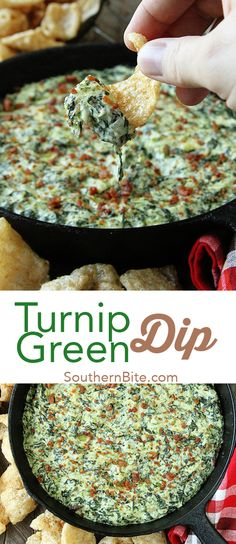Southern Recipes This Turnip Green Dip recipe from southern bite is a must at all parties,games,a. Turnip Green Soup, Turnip Greens, Appetizer Dips, Appetizers For Party, Appetizer Recipes, Party Dips, Dip Recipes, Snack Recipes, Cooking Recipes
