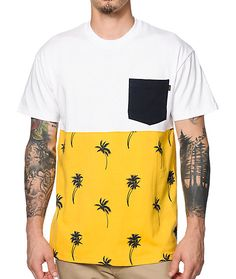 Refresh your look with a yellow and navy palm tree print lower with a solid white upper that sports a navy left chest pocket for added style.