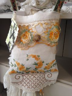 Gypsy Bohemian Shabby Antique Tea Towel Bag Victorian Edwardian Vintage wildgypsypearl ETSY