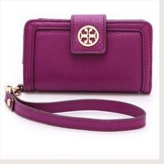 Make an offer! Authentic Tory Burch phone wallet Purple Tory Burch Amanda phone case / wallet. Brand new with tag. Fits iPhone 5/5s. Tory Burch Accessories Phone Cases
