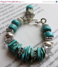 ON SALE chunky bracelet turquoise bracelet artisan by soulfuledges, $48.99
