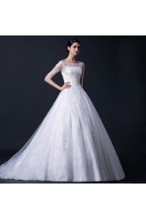 Bateau A-line White Modest Wedding Dress With Tulle Half Sleeves
