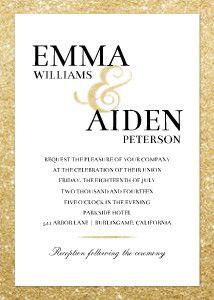 Elegant Glitter Border Wedding VowsGold