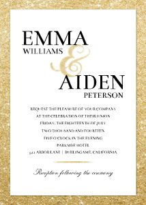 Present guests with your wedding details on this unique wedding invite. Gold glitter adds a touch of glam.