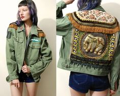 ☩MILITARY ELEPHANT PATCH JACKET One of a kind handmade by Crux and Crow Elephant panel on the back with tiny silver metal sequins, heavily