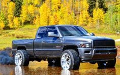 Dodge + Water + Fall = Success #Dodge #Cummins #2ndGen #Gray #Tires #WheelSpacers Dodge 2500 Cummins, Lifted Cummins, 2nd Gen Cummins, Cummins Diesel Trucks, Dodge Diesel, Lifted Chevy Trucks, Lifted Ford Trucks, Gmc Trucks, Cool Trucks