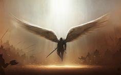 Vídeo Game Diablo III Anjo Tyrael (Diablo III) Escuridão Wings Demônio Espada Weapon Anjo Guerreiro Papel de Parede