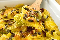 Potato gratin with pumpkin seeds