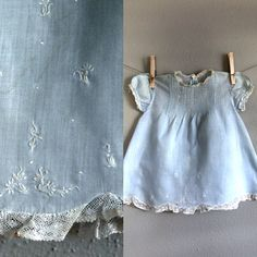 Vintage 3-6 mo Blue Baby Dress Smocked and Embroidered. $12.00, via Etsy.