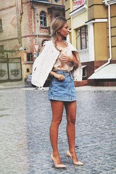 Anna Gotsyk - Kazar Shoes, Vintage Skirt, Zara Vest, Miss Sixty Shirt - Denim Skirt