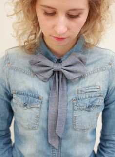 Denim Blue Jeans Womens Bow Tie by PollyMcGeary on Etsy