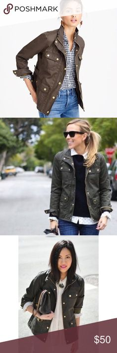 J.Crew Downtown Field Jacket Olive Army XS This is THE jacket that every blogger owns and is so incredibly versatile. I own two so letting this one go! Size XS. Pictures of actual jacket coming soon! J. Crew Jackets & Coats Utility Jackets