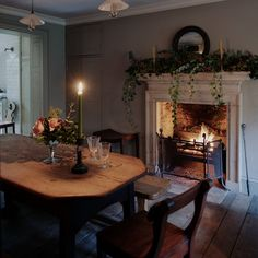 We are within the midst of Christmas and we were thrilled to be asked by the Saturday Telegraph how we create a county-house Christmas in the city. Cosy Dining Room, Dining Area, Dining Table, Dining Rooms, Dining Room Fireplace, Fireplace Ideas, Fireplace Mantels, Christmas In The City, Cottage Christmas