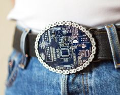 Men's Blue Big Geeky Circuit Board Belt Buckle-gasp!  We can do this as a fam activity!  Maybe legos, old computer chips, little doll accessories, etc, so many ideas!