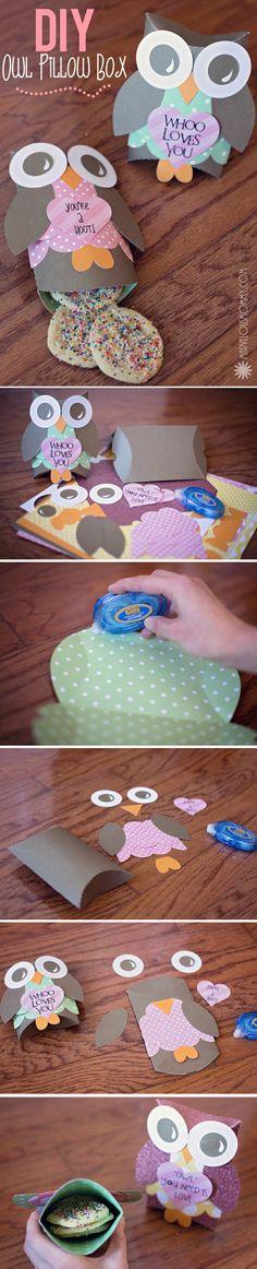DIY Owl Pillow Boxes | Free Valentine Printable
