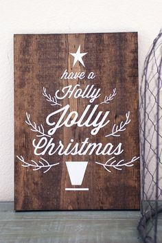 Holly Jolly Christmas Wooden Sign #home #decor