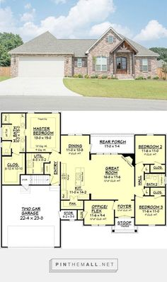 awesome Craftsman Style House Plan - 3 Beds 2 Baths 1842 Sq/Ft Plan - a grouped images picture New House Plans, Dream House Plans, Small House Plans, House Floor Plans, My Dream Home, The Plan, How To Plan, Casa Stark, Craftsman Style House Plans