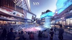 SAN specializes in portraying unbuilt architecture. The name of SAN represents the principle of our work: SPACE, ART and NATURE. University Architecture, Architecture Company, Facade Architecture, Mall Facade, Future Buildings, Commercial Complex, Architecture Presentation Board, High Building, Mall Design