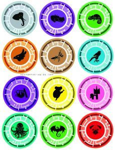 Wild Kratts Creature Power Discs (top 6 with authentic colors and images from episodes and bottom 6 created for fun). These have been resized for uniformity and to fit as many to a page as possible by NeatOnTheInside.com.