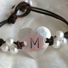 Leather and Pearls Bracelet Hearts Delight ID by nicholaslandon, $118.00
