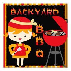 Girl Backyard BBQ Birthday Party Invitations #birthdays #BBQ  #barbeque #invitations