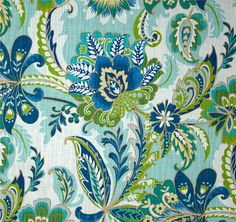 "Blue Green Curtain Panels, Trendy Window Curtains, Modern Floral Drapes, Aqua Drapery Panels, One Pair Rod-Pocket 50""W"
