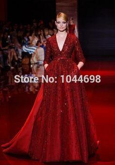 Custom Made Celebrity Dresses 2017 Sexy Deep V-Neck Lace Beading Red Carpet Dresses Kim Kardashian Celebrity Gown
