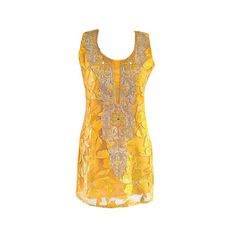 Elegant Embellished Indian Kurti Top Sleeveless Tunic by Jywal
