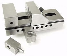 """Screwless Vise Clamps - The mounting blocks have counterbored bolt holes, accepting 3/8"""" and M6 socket head cap screws paired with T-slot nuts."""