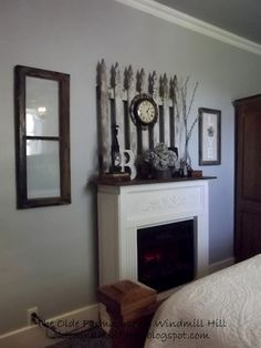 The Olde Farmhouse on Windmill Hill: Gray and White Master Bedroom Reveal.  **Love the frames and mantle decor**