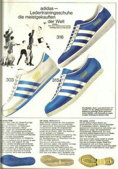 German Adidas Catalogue showing Rom, Munchen '72 (top) and Athen