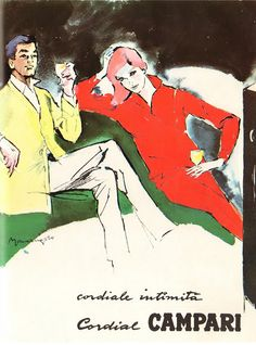Vintage Italian Posters ~ #illustrator #Italian #posters ~ Illustration by Franz Marangolo, 1960's, Cordial intimita, Cordial Campari.