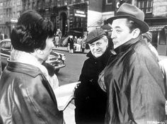 Shirley MacLaine, director Robert Wise and Robert Mitchum on location in New York for Two for the Seesaw,1962