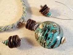 Kumihimo And Lampwork Pendant Necklace, Earrings, Coconut Shell, Silver Components, Hand-Dyed Silk Ribbon, Aqua, Sage, Mocha, Cream, OOAK on Etsy, $198.00