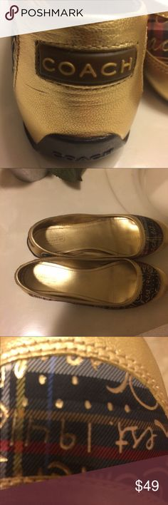 Coach shoes comfy cozy Coach flats, very comfortable in excellent condition, the colors are gold, red, navy blue, gold lettering, slip on and go! Only ware a couple times Coach Shoes Flats & Loafers