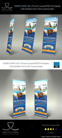 Signage Roll-Up Banner Description: Travel Roll-up Signage Banner Template was designed for business, it¡¯s professional and