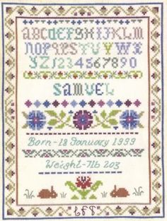 baby girl birth samplers | traditional style birth sampler to record a birth in shades of mauve ...