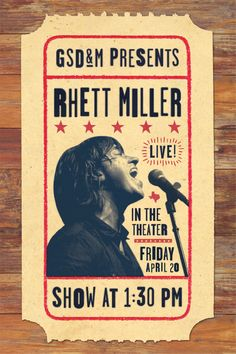 Rhett Miller designed by Stephen Rockwood Minimalist Graphic Design, Poster Designs, Advertising Design, Scale, Typography, Layout, Posters, Marketing, Art