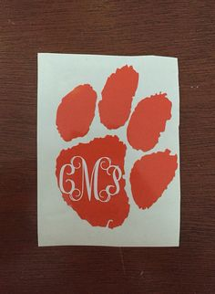 Large Clemson paw with monogram decal