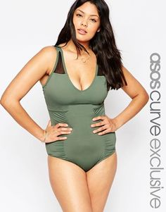 2216c3591ff0 ASOS CURVE Mesh Insert Swimsuit Cheap Plus Size Clothing