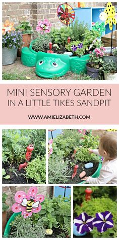 We Made a Mini Sensory Garden in a Sandpit Play Area Garden, Backyard Play, Preschool Garden, Sensory Garden, Baby Garden Ideas, Kid Garden, Garden Ideas For Nursery, Garden Ideas For Toddlers, Child Friendly Garden