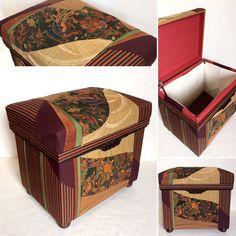 Interior Chabako size 20K, by order. Combination of Antique embroidered Obi, Plain Obi and Stripe Kimono. インテリア茶箱。帯2本、着物1着使用。