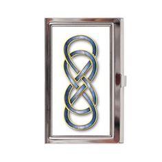 Double Infinity Blue/Gold - Business Card Case #Cloisonne' #doubleinfinity #marble #celtic #celticknot #stockingStuffer #christmas #yule #Cloisonne' #pagan #revengeTVshow