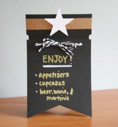 Use two banner pieces from our exclusive chalkboard banner kit to make menu or table cards for your next party!  http://www.archiversonline.com/emails/244