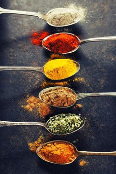 Indian Poster featuring the photograph Colorful Spices In Metal Spoons by Natalia Klenova