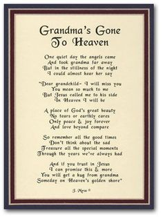 Poems For Grandmothers Funerals 7