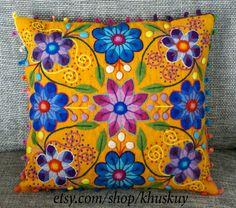 Perú almohada mano bordada flores lana de oveja y por khuskuy