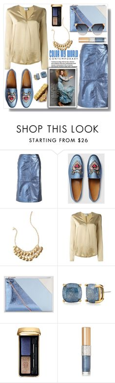 """""""Color My World: Metallic Blue"""" by queenvirgo ❤ liked on Polyvore featuring L'Autre Chose, Gucci, Lilly Pulitzer, Forte Forte, Whistles, Kate Spade, Guerlain, Yves Saint Laurent and Fendi"""