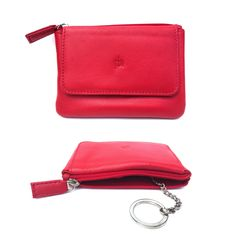 Prime Hide Ladies Quality Soft Leather Coin Purse Key Ring 760 Red from Baked Apple UK